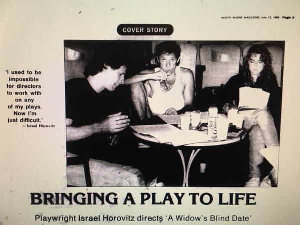 In 1989, <em>The Gloucester Daily Times </em>reviewed <em>The Widow's Blind Date</em>, written by Israel Horovitz (center). It's a play that depicts a woman confronting her rapists. Jocelyn Meinhardt (right), who worked on the play at the time, says she was sexually assaulted by Horovitz.