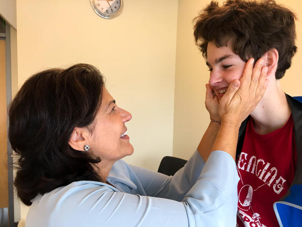 Dr. Roberta Cilio, neurologist at UCSF, proudly tells her patient Sam Vogelstein he is cleared to drive a car.