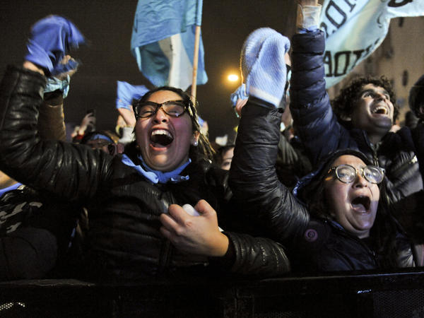Demonstrators against decriminalizing abortion celebrate outside the national Congress building in Buenos Aires on Thursday.