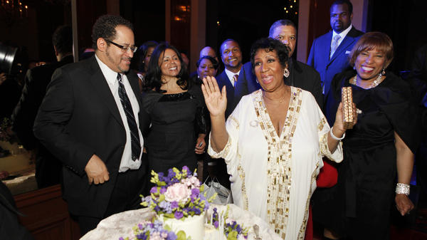 Michael Eric Dyson (left) and Aretha Franklin at Franklin's birthday dinner in March 2011 in New York City.
