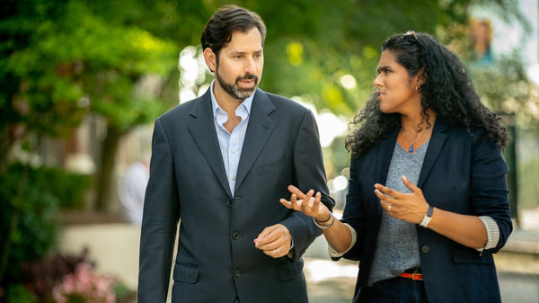 <em>On Point</em> co-hosts David Folkenflik (L) and Meghna Chakrabarti (R).