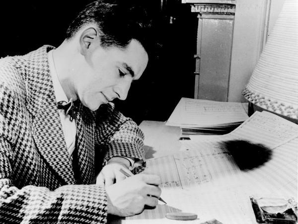 The young Leonard Bernstein, composing.