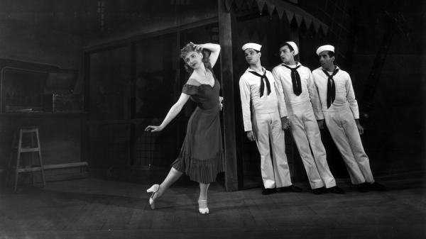 The American Ballet Theatre at London's Covent Garden in 1946, in a production of Leonard Bernstein's ballet <em>Fancy Free</em>. Jerome Robbins (far right) choreographed Bernstein's music.