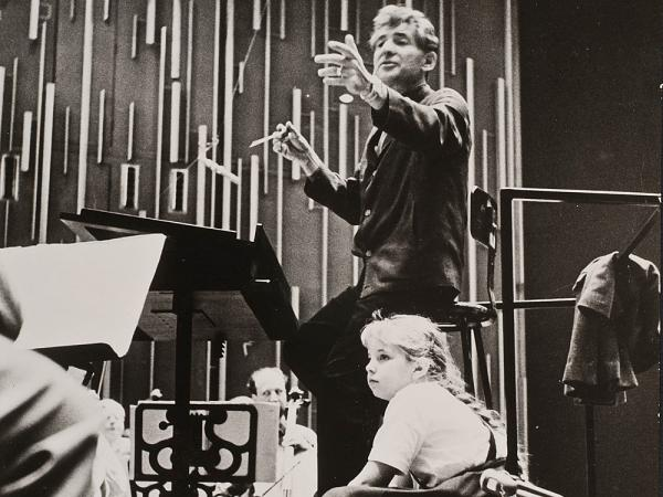 Jamie Bernstein watches her father, Leonard Bernstein, conduct the New York Philharmonic at a rehearsal for one of his Young People's Concerts, circa fall 1962.