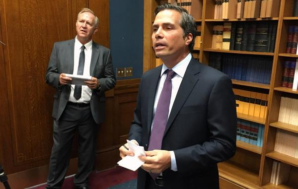 Greg Orman, an independent candidate for governor, with running mate state Sen. John Doll.