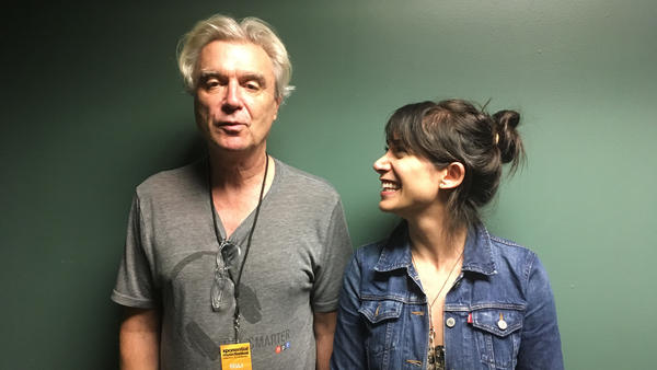 David Byrne (left) with World Cafe Host, Talia Schlanger (right) backstage at the 2018 XPoNential Music Festival.