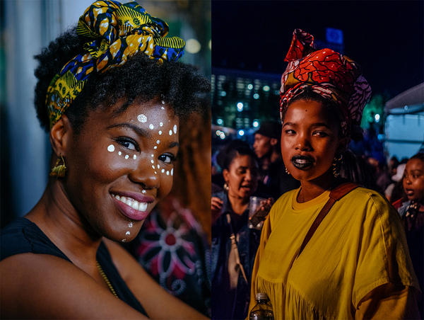"""At left, 31-year-old Melia attended her first Afropunk event last year in Paris. """"It's nice to meet people from everywhere. It's another way to look at Africa."""" At right, South Africa had its own festival to close out 2017."""