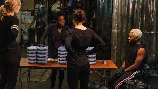 L to R: Alice (Elizabeth Debicki),  Veronica (Viola Davis), Linda (Michelle Rodriguez) and Belle (Cynthia Erivo) in <em>Widows</em>.