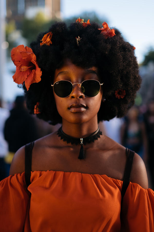 """Tumi Tsele, 19, attended Afropunk Joburg. """"We have plenty of festivals about our heritage, but I've never seen so many young people celebrating blackness at this scale."""""""