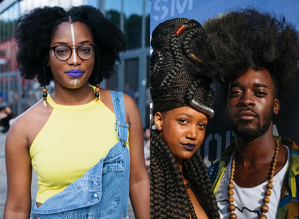 """In Paris last summer, Malika, 23, (left) says of the Afropunk festival: """"It's a safe place. Anyone can really express themselves."""" At right, Archibald, 26 — with Mariame, 24 — says, """"Afropunk is inspiring, the color of our skin, dressing only with hair ... It's amazing to see how people react."""""""