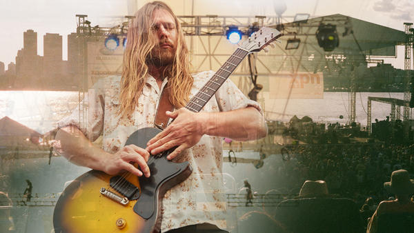 Lukas Nelson performing live at the XPoNential Music Festival.