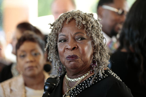 Motown artist Martha Reeves, lead singer of the 1960s group Martha Reeves and the Vandellas, arrives for the service.
