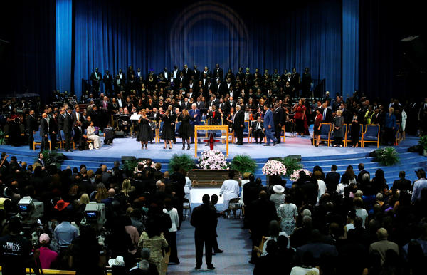 """American gospel singers The Clark Sisters perform their hit """"Is my Living in Vain?"""" at Aretha Franklin's funeral."""