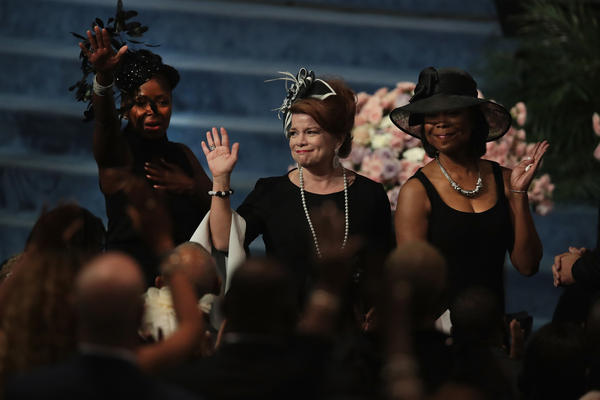 """Members of the cast of """"The Haves and Have Nots,"""" a prime-time drama, are recognized at the funeral for Aretha Franklin."""
