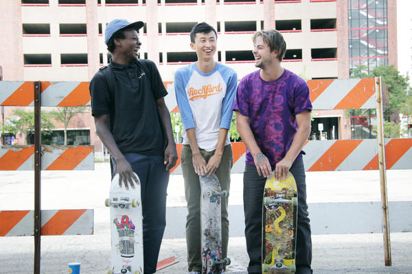 In <em>Minding the Gap</em>, filmmaker Bing Liu uses old and new footage of his skateboarder friends Keire Johnson (left) and Zack Mulligan (right) to track the turbulent upbringings and present-day struggles of all three.