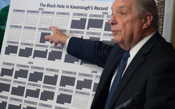 "Democratic Sen. Dick Durbin of Illinois outlines what he sees as a ""black hole"" in Kavanaugh's record because of documents during Kavanaugh's time in the White House that have not been released."