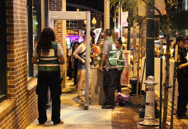 The busiest checkpoint Saturday night was at Mill Street and Westport Road, where a long line trailed down Mill Street toward the parking garage for hours.