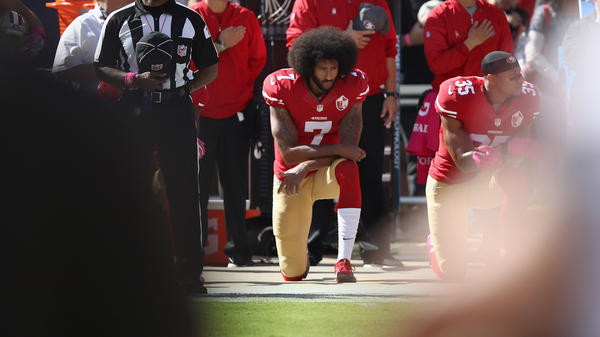 Colin Kaepernick kneels for the national anthem at Levi's Stadium in Santa Clara, Calif., on Oct. 23, 2016.