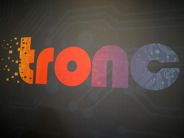 The logo of Tronc Inc., formerly Tribune Publishing Company, is seen at TechFair LA in 2017.