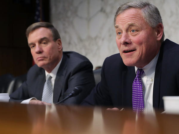 Senate intelligence committee ranking member Mark Warner, D-Va. (left), and Chairman Richard Burr, R-N.C. want answers from top leaders of Big Tech.