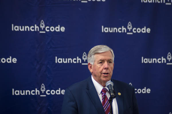 Missouri Gov. Mike Parson speaks at LaunchCode Tuesday about his desire to work with the legislature to fix two bills he vetoed earlier this year.