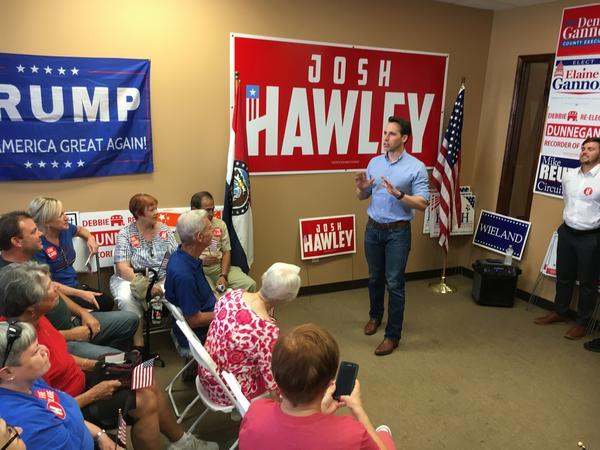Missouri Attorney General Josh Hawley speaks on Agu. 31, to GOP volunteers in Imperial.