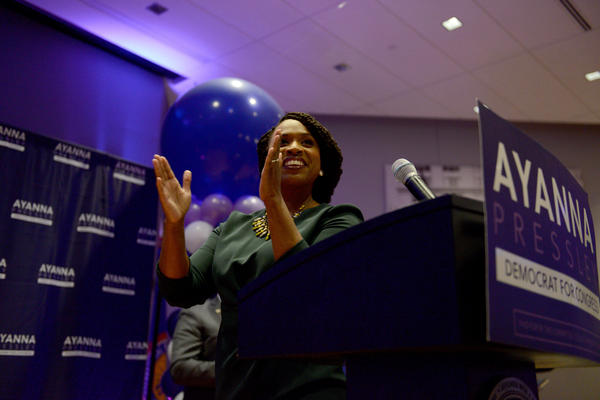 Boston City Councilor Ayanna Pressley greeted family, friends and supporters after beating Rep. Michael Capuano in the Democratic primary for Massachusetts' 7th Congressional District.