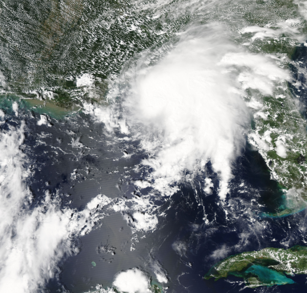 A NASA satellite image of Tropical Storm Gordon shows the storm beginning to reach landfall.