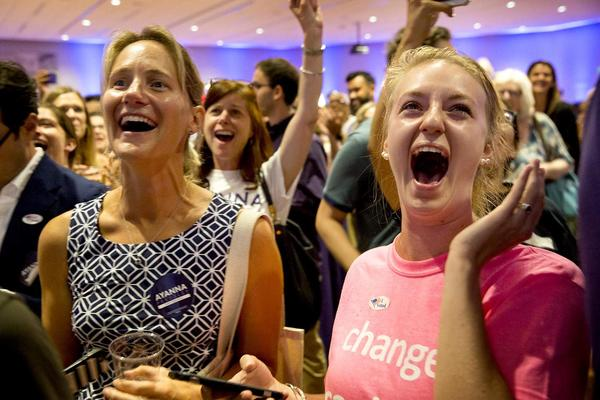 Pressley supporters react to Capuano's concession speech. (Robin Lubbock/WBUR)