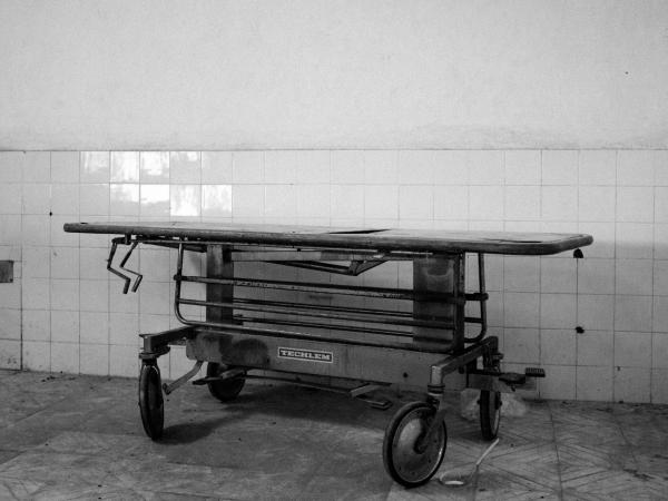A gurney in a hospital.