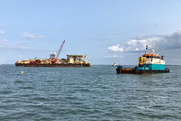 An offshore installation barge welds segments of the Nord Stream 2 pipeline, to be laid on the seabed near Lubmin on Germany's Baltic coast.