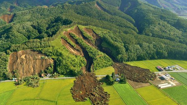 A landslide in Atsuma town, Hokkaido prefecture, caused by the powerful earthquake that hit the Japanese island of Hokkaido.