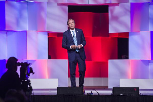 Texas Attorney General Ken Paxton speaks during the Texas Republican Convention in San Antonio in June.