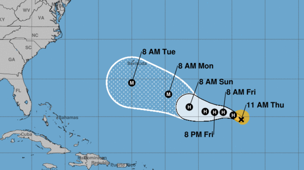 The forecast for Florence currently has the storm's eye passing south of Bermuda. By that time, it will be a major hurricane, forecasters say.