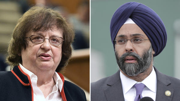 Acting New York state Attorney General Barbara D. Underwood (left) speaks in Albany, N.Y. on May 15. New Jersey Attorney General Gurbir Grewal speaks during a news conference on Aug. 1 in Newark, N.J.