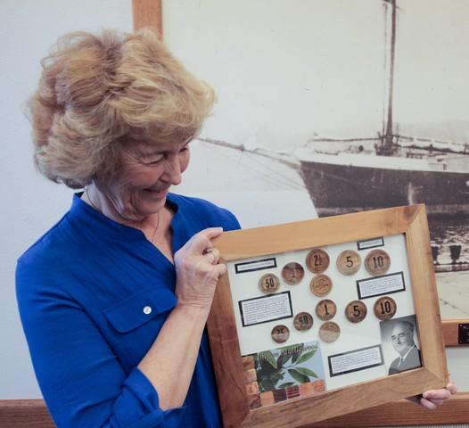 <p>North Bend resident Kristie Robertson Smith possesses one of the few known complete collections of myrtlewood currency. She has one of each denomination from both issues, including the rare $10 pieces.</p>