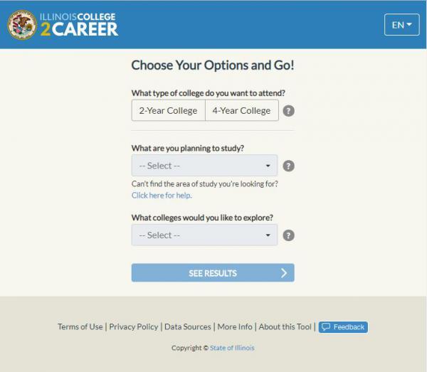 A screenshot of the website, ILCollege2Career.com