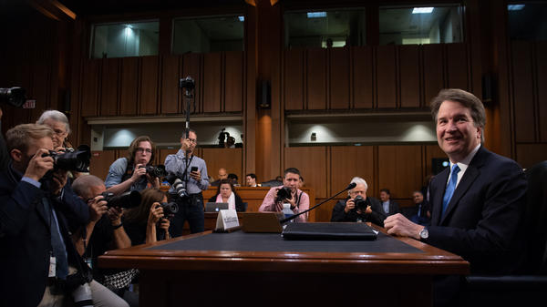 Judge Brett Kavanaugh arrives to testify during the second day of his Supreme Court confirmation hearings on Wednesday.