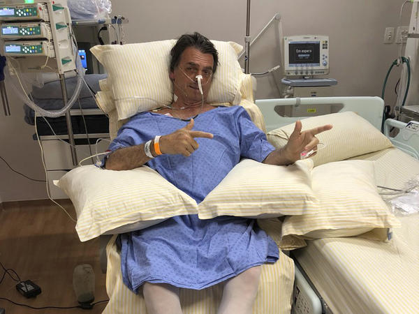 Brazilian presidential candidate Jair Bolsonaro recovers in a hospital room at the Albert Einstein Hospital, in Sao Pauloon Saturday. He was stabbed on Thursday during a campaign rally.