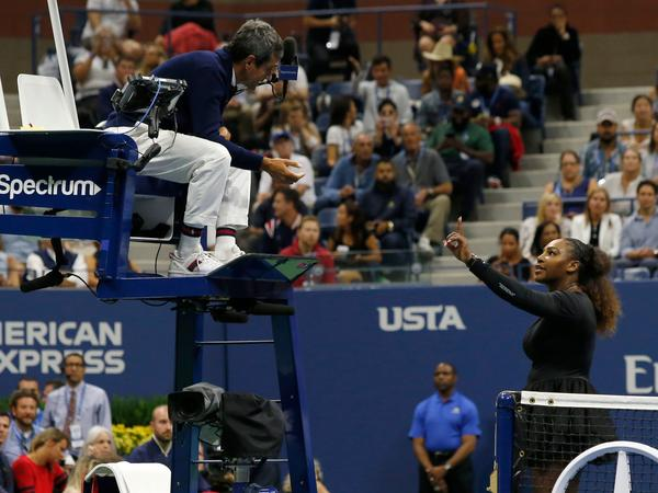 Serena Williams argues with Chair Umpire Carlos Ramos while playing Naomi Osaka during their 2018 U.S. Open women's singles final match on Saturday. Osaka, 20, triumphed 6-2, 6-4 in the match.