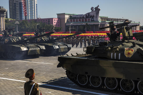 North Korean military tanks drive at Kim Il Sung Square in Pyongyang during a mass military parade to mark its 70th anniversary as a nation.