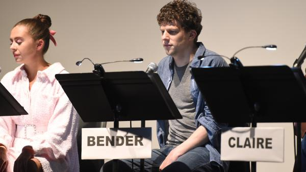 Bel Powley and Jesse Eisenberg appeared in Jason Reitman's live read of <em>The Breakfast Club </em>on Sunday night in Toronto.