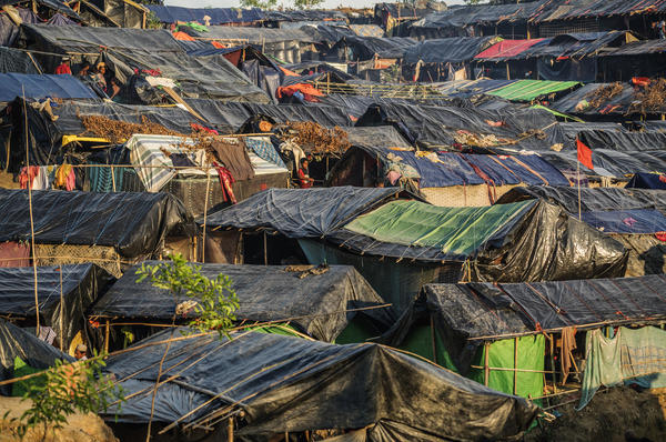 Alam photographed densely packed homes in the Balukhali refugee camp for Rohingya from Myanmar last November.