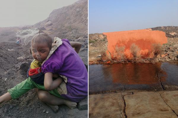 """Left: Two children sit in the cold of Jharia, waiting for their parents to return from work. A plastic net covers the head of the younger child. """"They had been playing with trash,"""" photographer Ronny Sen says. Their parents are illegal coal pickers whose livelihood depends on scavenging coal from the mine. Right: After mine blasts and fires, the orange wall of a broken temple remains."""