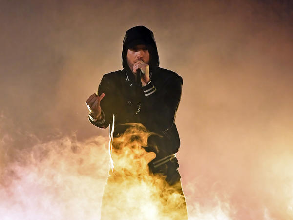 Eminem performs during the 2018 iHeartRadio Music Awards at The Forum in Inglewood.