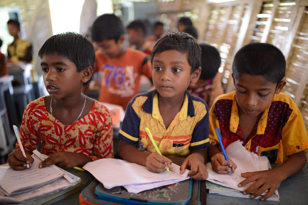 Third graders on board a floating school in Bangladesh run by the nonprofit group Shidhulai Swanirvar Sangstha.