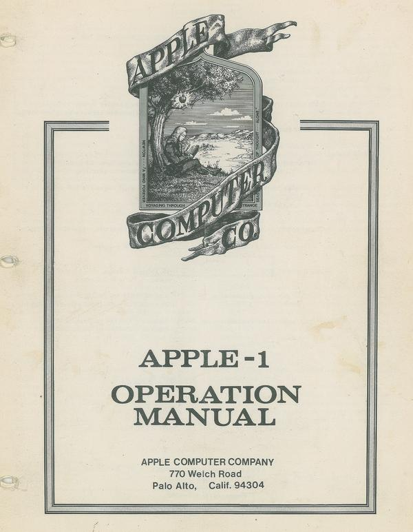 A vintage Apple-1 computer manual. The first Apple computer was really only a circuit board for coders to write programs and play a couple of video games.