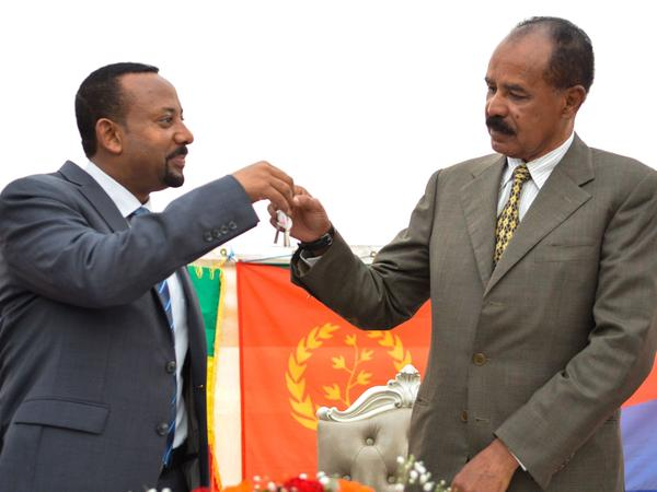 The border between Ethiopia and Eritrea reopened on Tuesday. Ethiopian Prime Minister Abiy Ahmed (left) and Eritrean President Isaias Afwerki (right) celebrated the reopening of the Embassy of Eritrea in Addis Ababa in July.