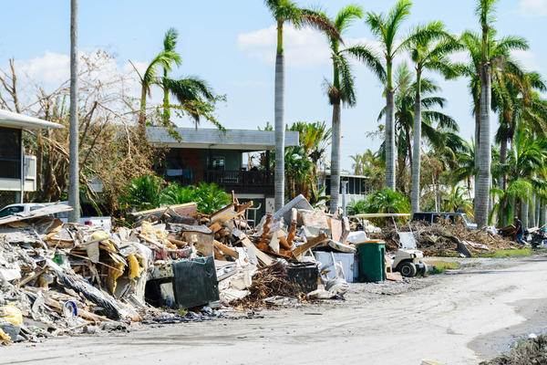Debris-strewn streets in Everglades City a week after Hurricane Irma