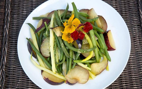 Gingered green bean and plum salad, from chef Kathy Gunst. (Robin Lubbock/WBUR)